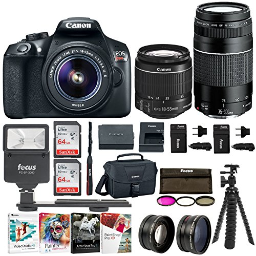 Canon EOS Rebel T6 SLR Camera 18 Megapixel 1080p HD Video Bundle with 18-55mm 75-300mm Lenses 128GB 3 Batteries – 2 Travel Chargers and Photo Software – Professional Vlogging Sports Action Camera