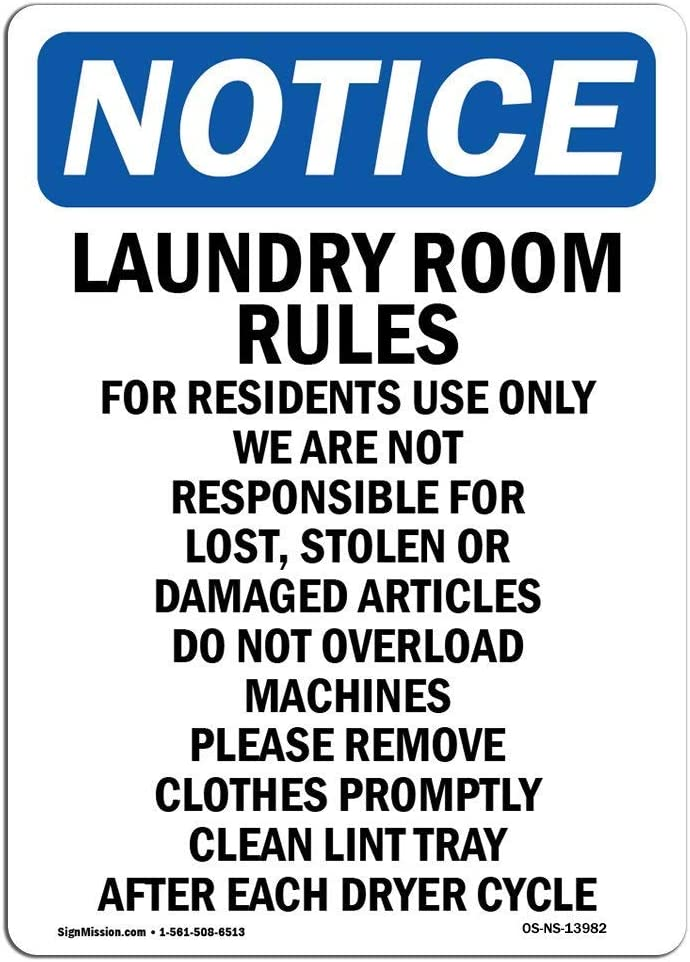 Everett Goodman Home Decor - Safety Sign Notice Laundry Room Rules for Residents.8x12 Inch Metal Tin Sign