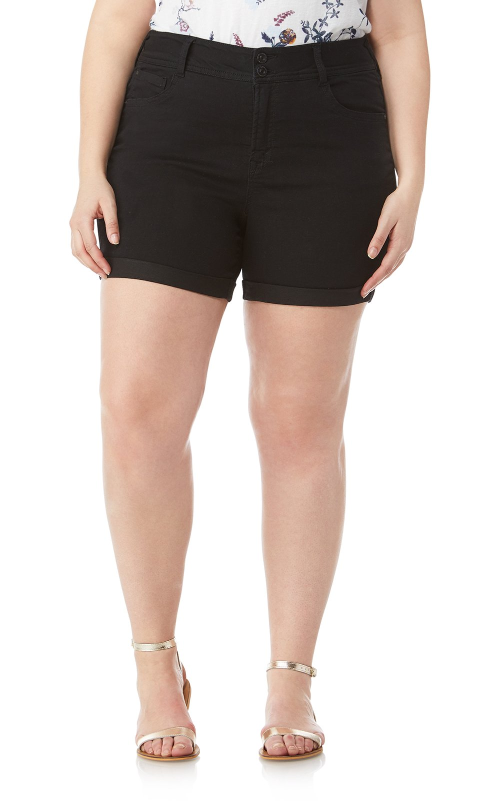 WallFlower Women's-Juniors Plus Size Insta Soft Ultra Shorts in Black, 16 Plus