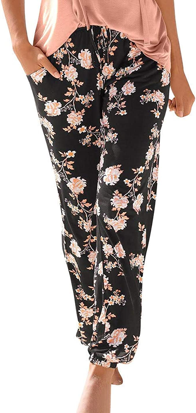 HENWERD Womens Comfy Casual Trousers Floral Print Elastic Waist Wide Leg Loose Pants