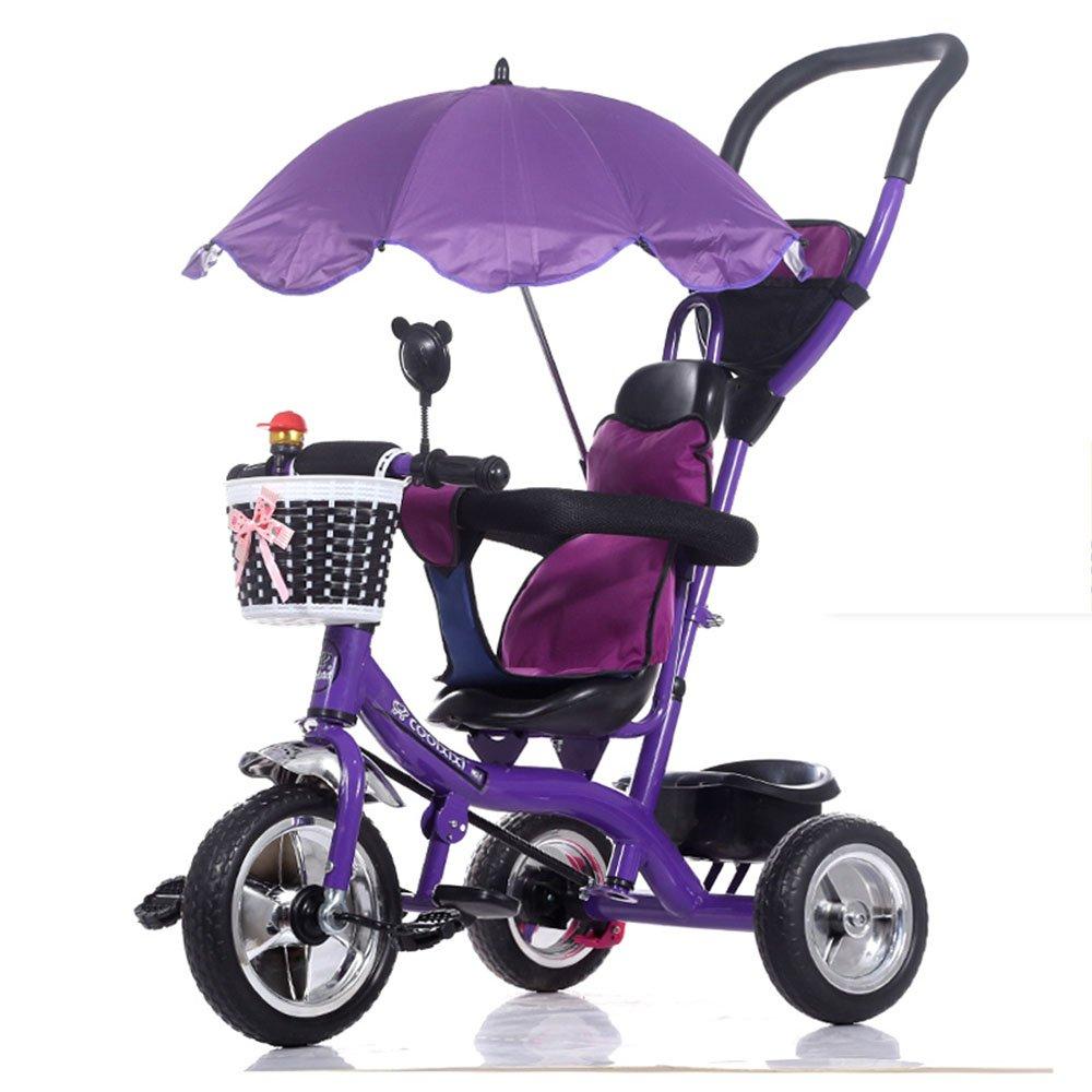 HAIZHEN マウンテンバイク 赤ちゃんの子供の自転車子供の三輪車のカート赤ちゃんのキャリッジ子供の自転車3ホイール、(ボーイ/ガール、1-3-5歳)子供の贈り物 新生児 B07CG27JDBパープル ぱ゜ぷる