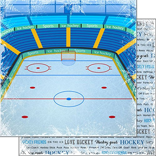 - Hockey Winter Adventure (38735) 12 inch x 12 inch Double-Sided Scrapbook Paper - 1 Sheet