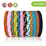 FULNEW Mosquito Repellent Bracelet 12 Pack Bug & Insect Repellent Bracelet 100% Natural DEET-Free Non Toxic Pest Control for Camping, Hiking, Outdoors