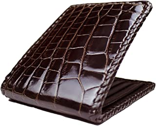 product image for Classic Hand Braided Brown Alligator Wallet