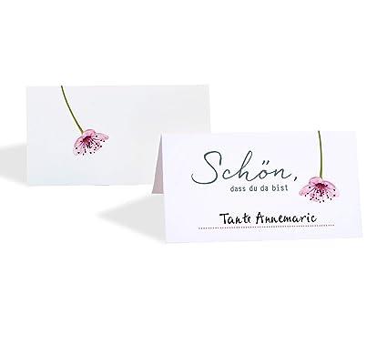 15 Tischkarten Platzkarten Hochzeit Kirschblüte Einfach