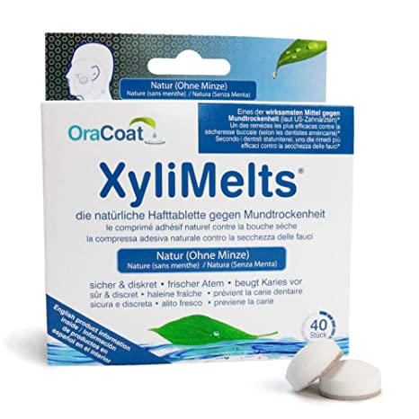 OraCoat XyliMelts - 40 pastillas adhesivas contra caries y sequedad bucal - Neutral