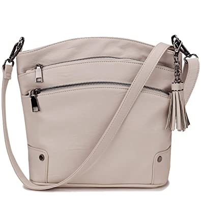 d7c6cebb172a Crossbody Purse for Women, Triple Pockets Faux Leather Tassel Shoulder Bag  for Girls with 2 Removable Strap VONXURY