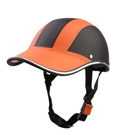 Casco de Abierta Casquillo Sombrero Motocicleta Motocross Mitad Cara Visera Correa Ajustable Protección - Naranja