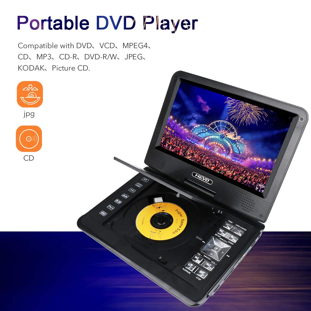 Smyidel 11.0'' Portable DVD Player Supports SD Card/USB Port /CD/DVD, Remote Controller,5 Hour Rechargeable Battery, 9'' Eye-Protective Screen, Support AV-in/ Out,Region Free ,Black by Smyidel (Image #5)