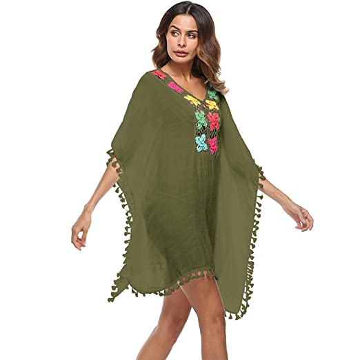 c9db75266f64d Amazon.com: HGWXX7 Women Beach Smock Tassel Sexy Loose Large Size Swimsuit  Bikini Beach Cover Up Sunscreen Thirts (One Size, Army Green): Clothing