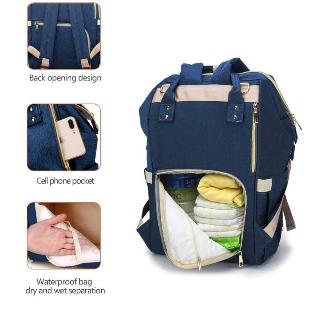Lequeen Unisex and Durable Includes Stroller Straps Multi-Functional Diaper Backpack- Travel Backpack- Nappy Bag for Child Care with Insulated Bottle Pockets Qindu Navy Blue Large Capacity