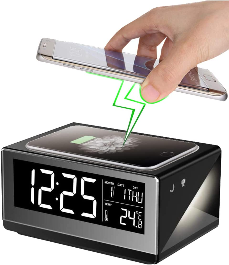 Boytone BT-12B Fast Wireless Charging Digital Alarm Clock with Temperature & Calendar Display, Bed Light Touch Dimmer, Snooze, 5 inch Full Screen LED for Bedroom, Office, Hotel, Desk, 110/220 Volt