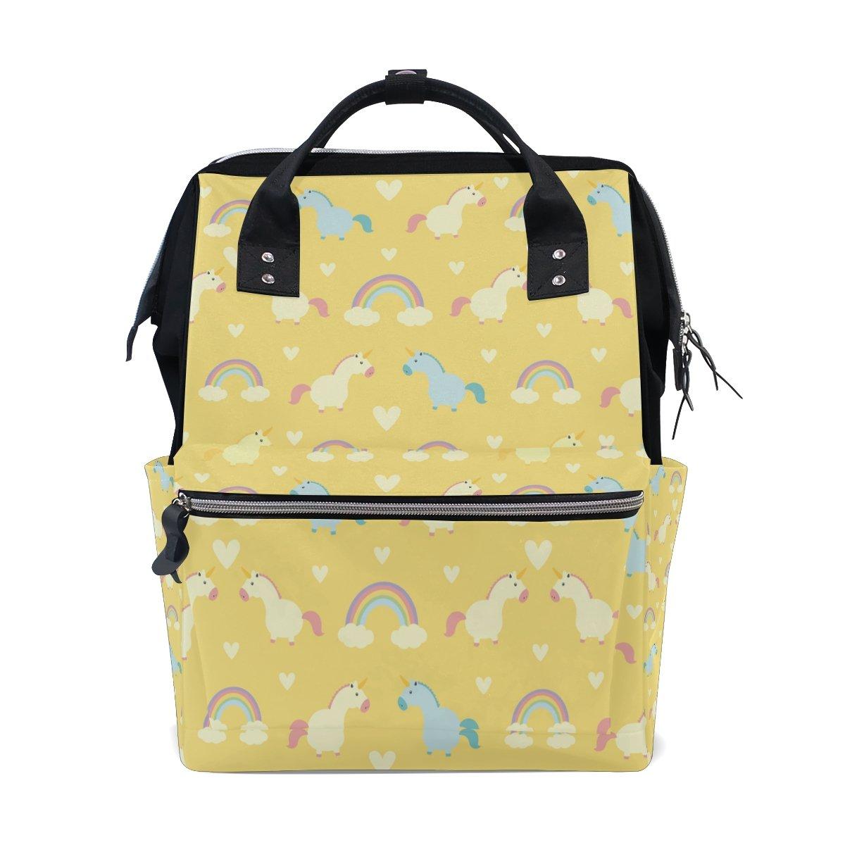 FENNEN Rainbow Unicorn Travel School Backpack Casual College Lightweight Laptop Backpack Large Capacity Shoulder Diaper Bag for Women Men