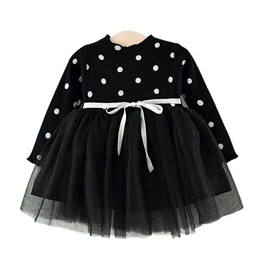 Zantec Vestido para niña, Manga Larga, diseño de Lunares y Falda ...