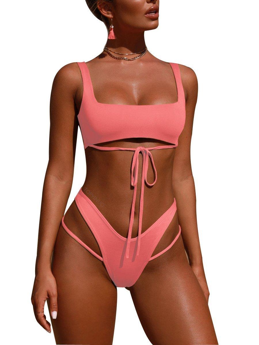Royalove Women High Leg Bikini Bottom Spaghetti Cutout Strappy 2 Pieces Bathing Suits Pink S