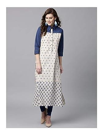 2c009e2f2e959 Amazon.com: Hiral Designer Women Kurti Indian Dress Women Off-White ...