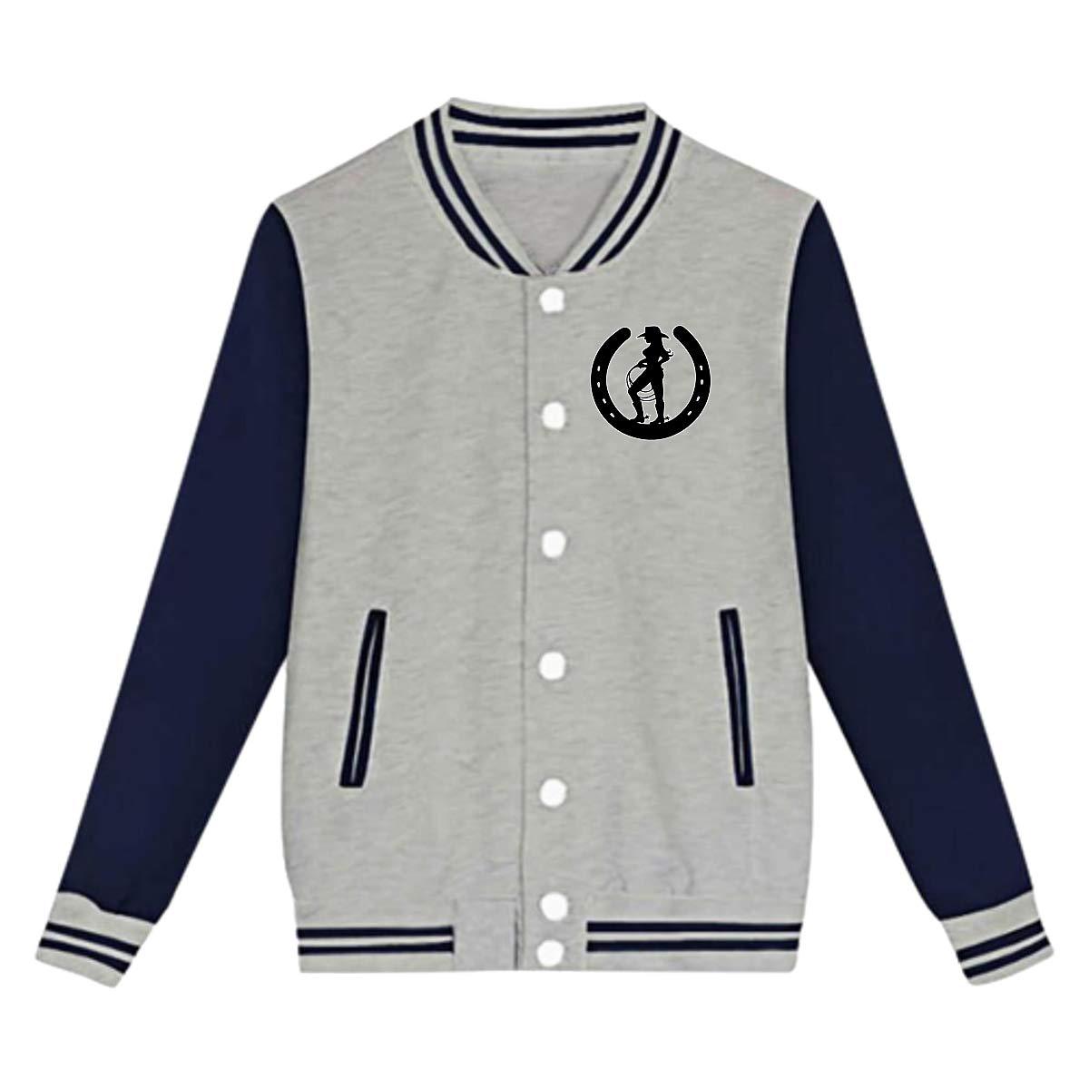 Tina TN Cowgirl Horseshoes Teens Boys Girl Varsity Baseball Jacket Long Sleeve Sport Baseball Uniform Jacket Coat Sweater Black