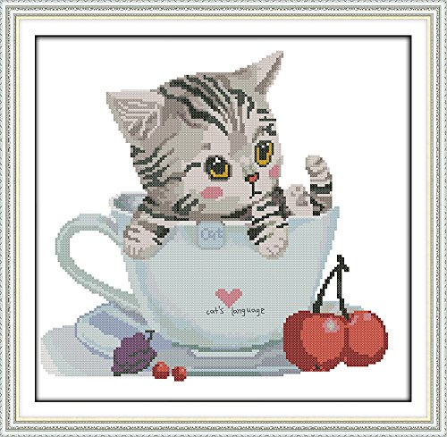 Full Range of Embroidery Starter Kits Stamped Cross Stitch Kits Beginners for DIY Embroidery with 40 Pattern Designs - Cat