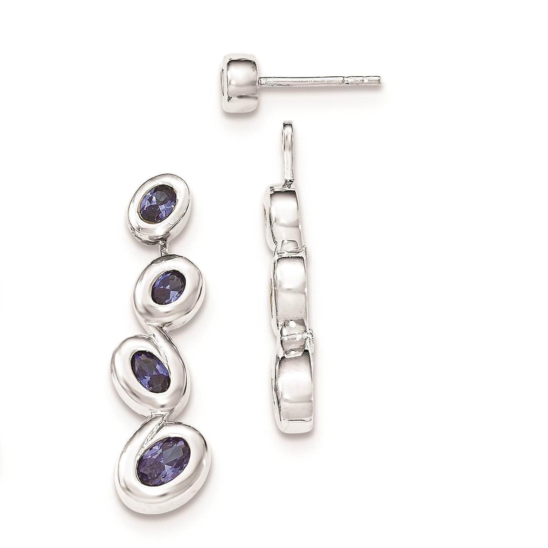 925 Sterling Silver Blue CZ Dangle Post Earrings
