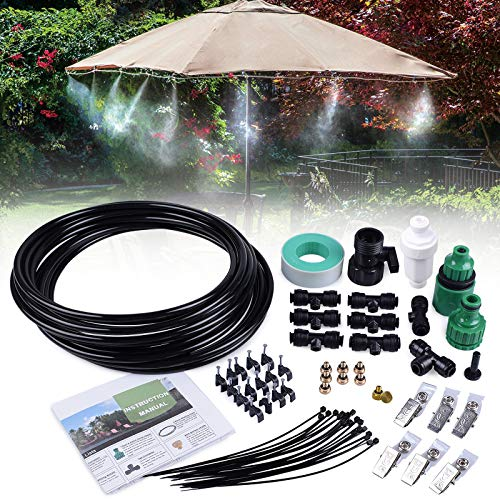 MIXC 26.2FT Outdoor Mist Cooling System Fan Misting Kit Animal Plants Swimming Pool Cooler with 1/4inch Tube Hose Pipe 7 Brass Metal Nozzles Jets Misters for Patio Garden Home Irrigation (Patio T Mister)
