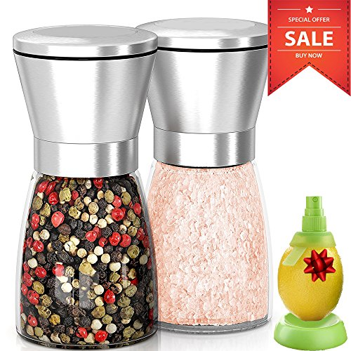 Premium Sale Salt And Pepper Grinder And Mill Shakers Set With Adjustable Coarseness. Stainless Steel Material. A New Elegant Way To Spice Up the Super Food You're Cooking. Refillable.