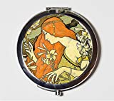 Art Nouveau Redhead Compact Mirror Paul Berthon Edwardian Boho Bohemian Gypsy Make Up Pocket Mirror for Cosmetics