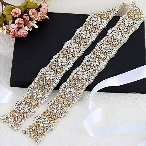Gold Wedding Wide Rhinestone Applique 1 yard, Wedding Sash Bridal Belts, Sash Applique, Belt Applique, Pearls Beaded Embellishments Sewn or Hot Fix