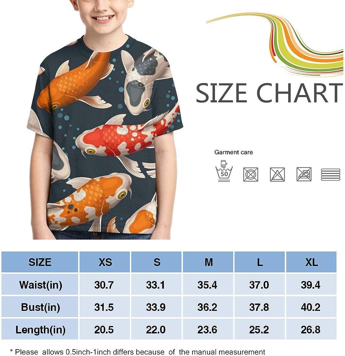 Youth T-Shirts Koi Carps Full Printed Short Sleeve Crew Neck Tees Summer Tops for Boys