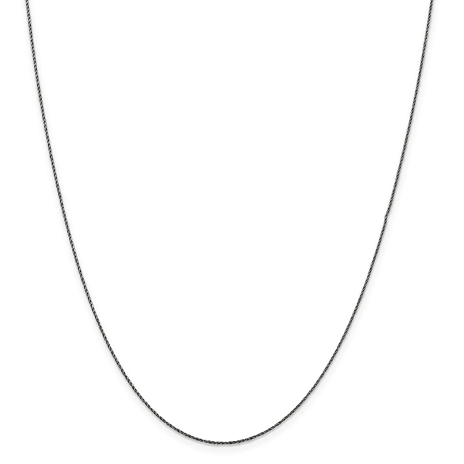 925 Sterling Silver Ruthenium-Plated .7mm Fancy Diamond-cut Snake Chain Necklace 7-24