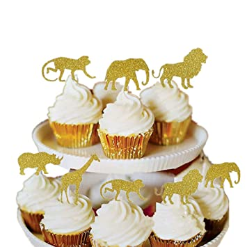 Bozoa 30 Pcs Gold Glitter Jungle Safari Animal Cupcake Toppers Picks Animals Cake