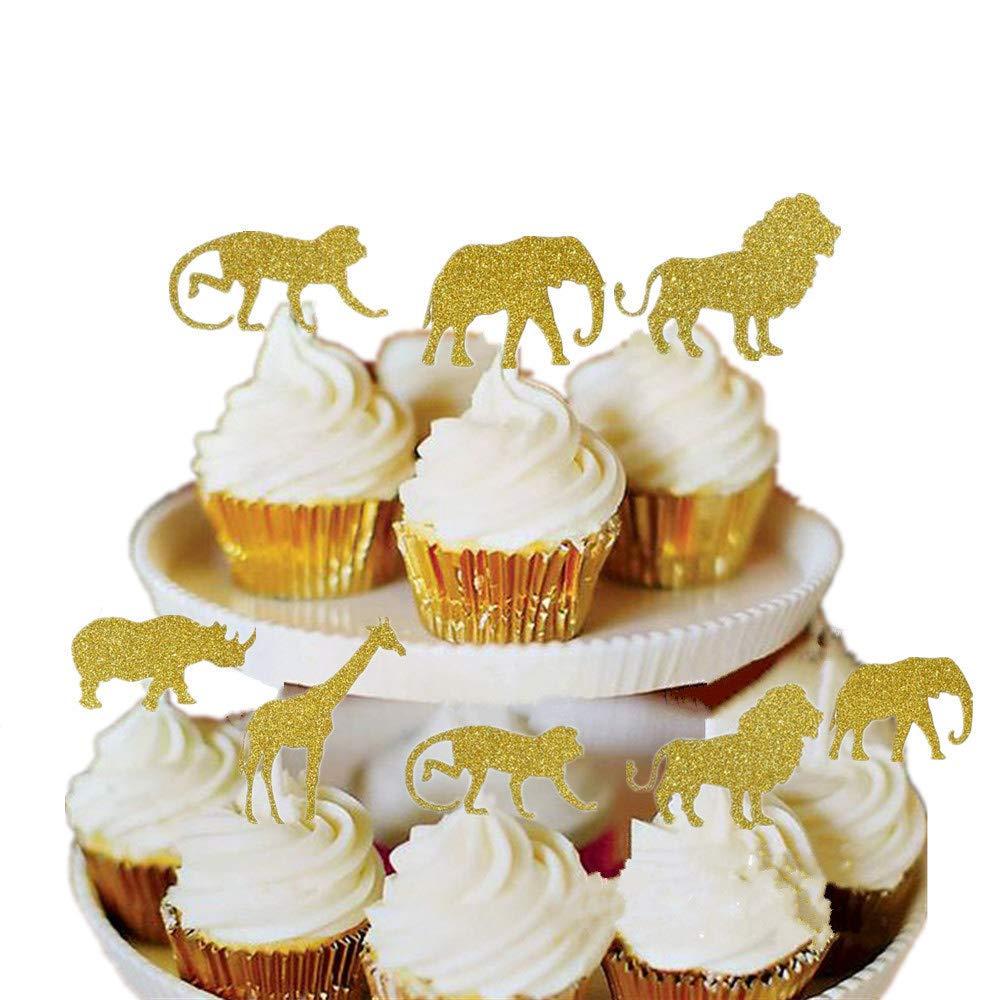 Bozoa (30 pcs) Gold Glitter Jungle Safari Animal Cupcake Toppers Picks Jungle Animals Cake Decorations for Jungle safari Animals Party Baby Showers Birthday Party by Bozoa (Image #1)