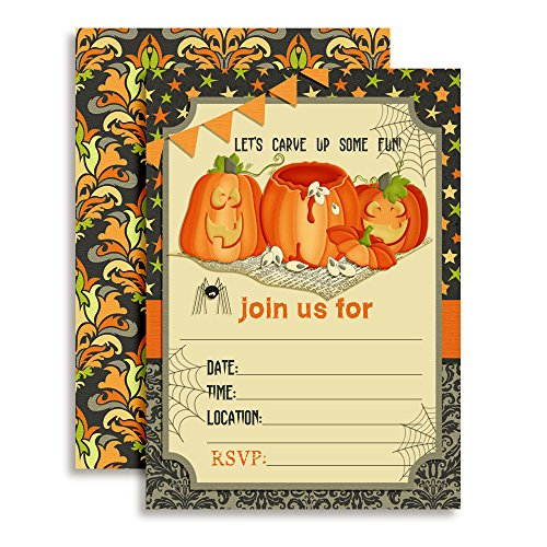 (Pumpkin Carving Halloween Birthday Party Invitations, 20 5