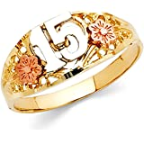 Amazon Com 10k Gold Floral Quinceanera 15 Anos Ring Jewelry