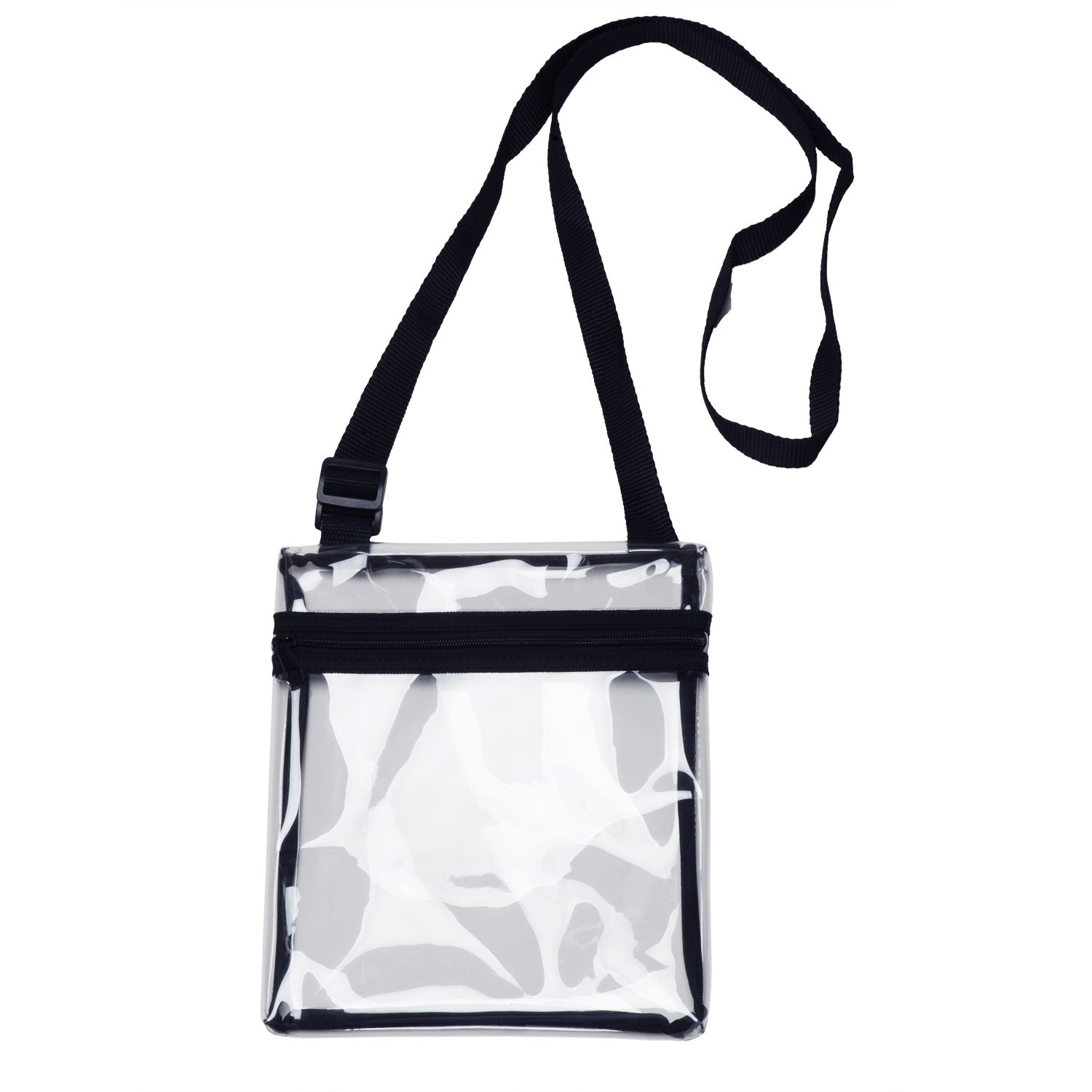 grinderPUNCH Small Clear Cross-Body Messenger Shoulder Bag Long Strap - NFL Stadium Approved Clear Purse