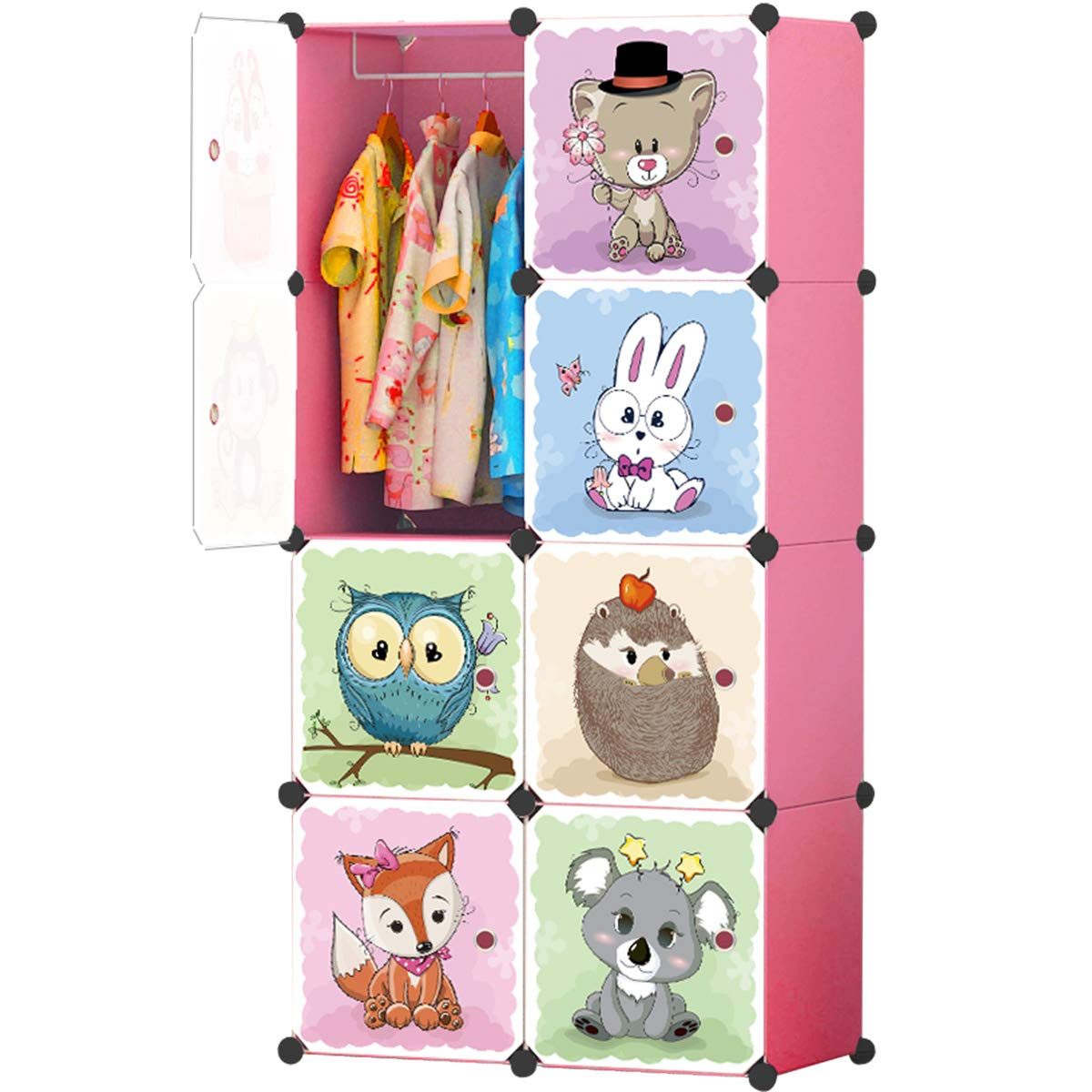 KOUSI Kid Dresser Portable Closet Wardrobe Children Bedroom Armoire Clothes Hanging Storage Rack Cube Organizer, Large & Study, Pink, 6 Cubes&1 Hanging Sections