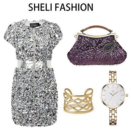 Handbags Beaded Fashion Wedding Purse Evening Women Purple Sequins for Small Bag Clutch Mini Bag gZ5wrZqA