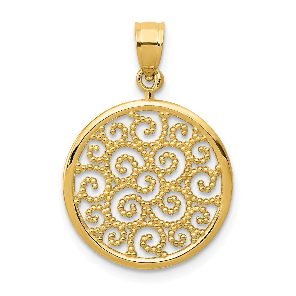 14K Yellow Gold Filigree Round Pendant Solid 15 mm 19 mm Pendants /& Charms Jewelry