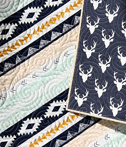Aztec Baby Quilt Toddler Size Navy Blue Gold Mint Green Arizona Tribal Bedding Nursery Blanket Triangles Modern Trendy Designer