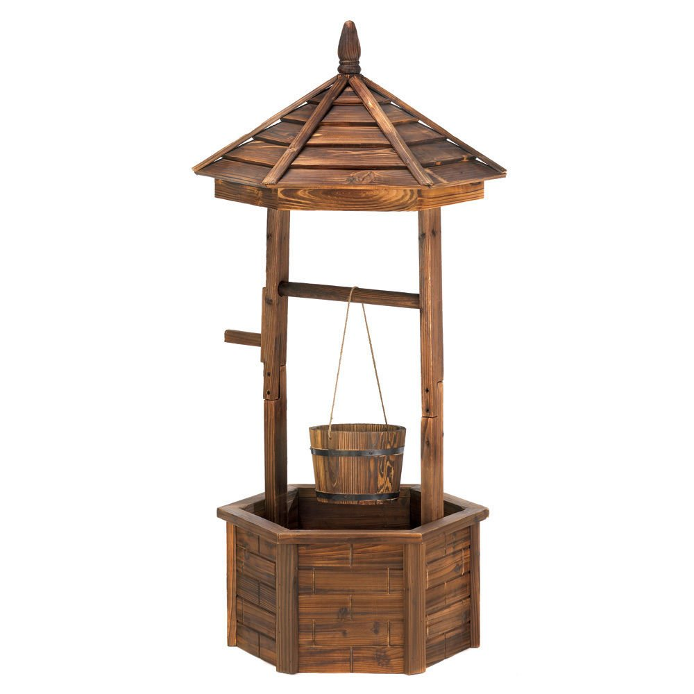 NEW 44.13'' High Rustic Fir Natural Wood Outdoor Wishing Well Bucket Planter