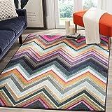 Safavieh Monaco Collection MNC234F Modern Bohemian Chevron Stripe Multicolored Area Rug (4′ x 5'7″) For Sale