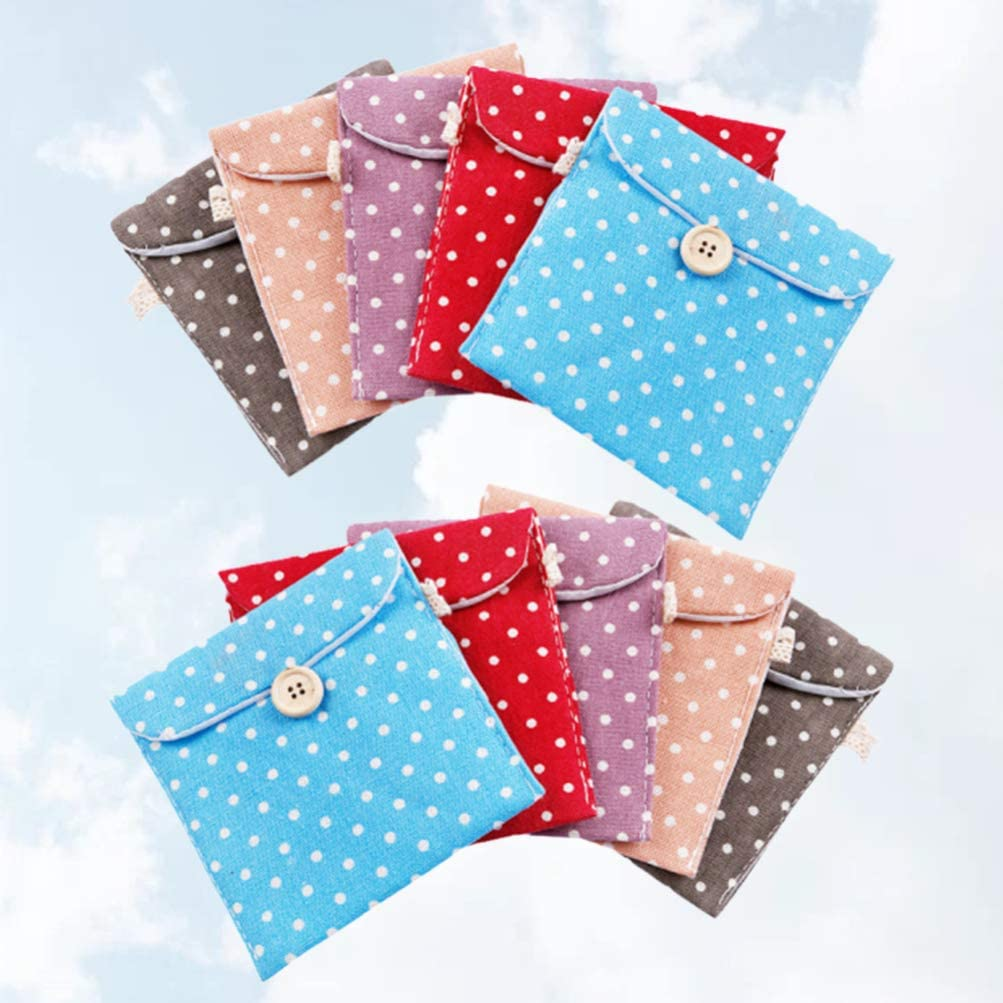 SUPVOX 10pcs bolsa de almohadilla sanitaria servilleta organizador de almacenamiento de almohadilla sanitaria con botón monedero contenedor de toalla ...