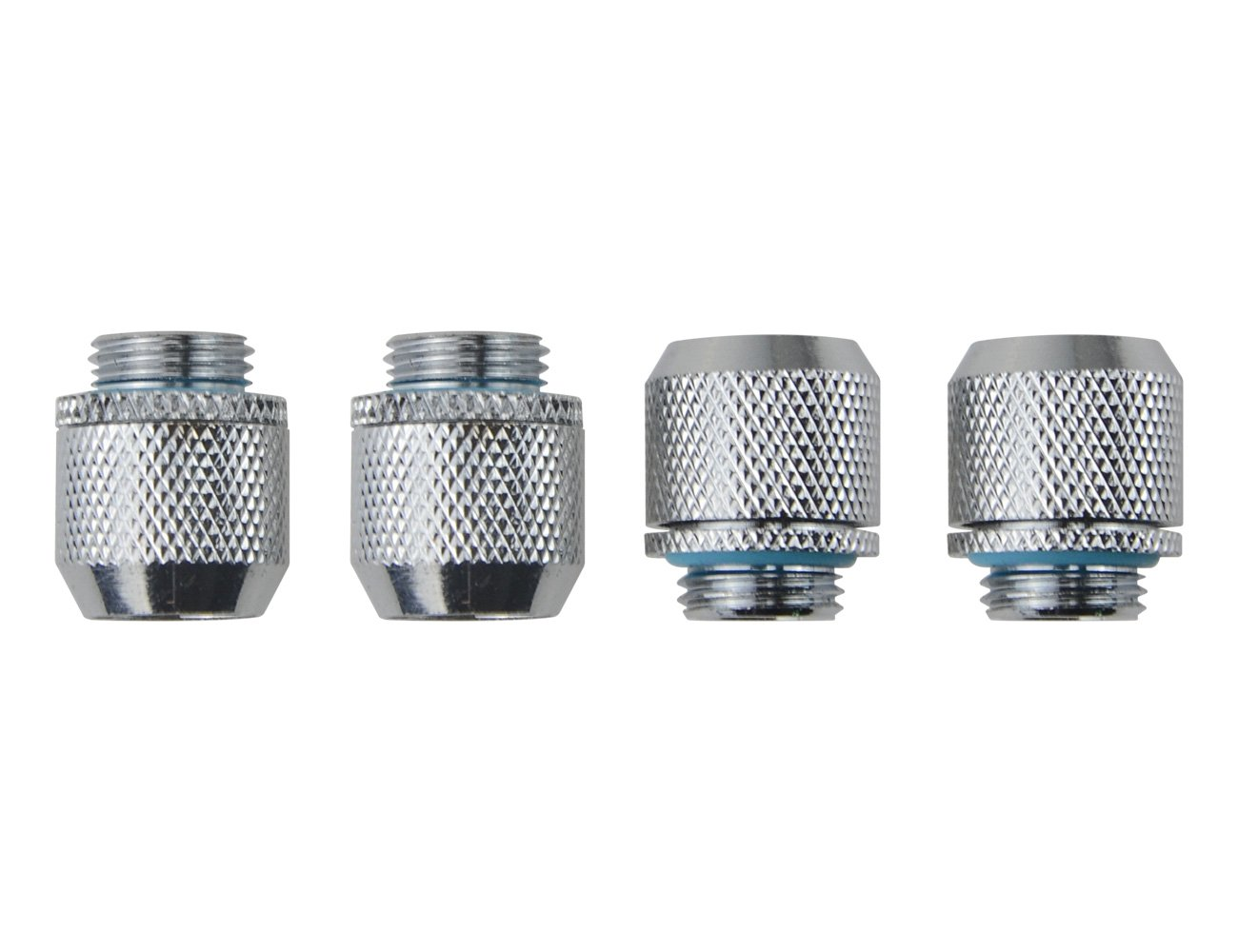 "BXQINLENX Silver Chrome G1/4"" to ID 3/8"" OD 1/2"" Soft TUBING Compression Fitting for Computer Water Cooling System Through Joint Straight Joint(4 PCS)"