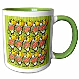3dRose Sandy Mertens Halloween Food Designs - Pumpkins, Soup and Striped Background Pattern - 11oz Two-Tone Green Mug (mug_156698_7)