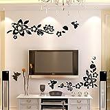 Ufengke® 3D Fiori Diagonali Effetto Specchio Adesivi Murali Fashion Design Arte Adesivi Da Parete Decorazione Domestica Nero
