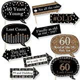 Big Dot of Happiness Funny Adult 60th Birthday - Gold - Birthday Party Photo Booth Props Kit - 10 Piece