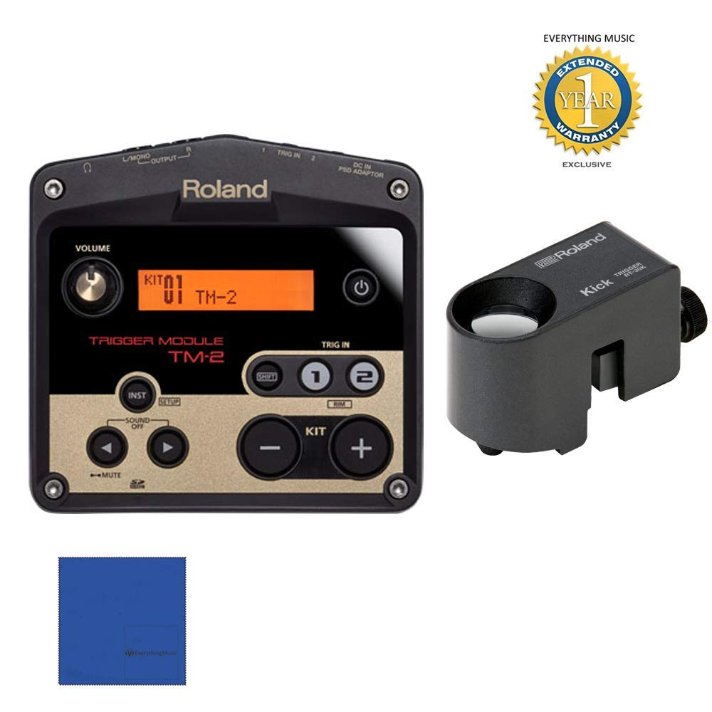 Roland TM2 Trigger Module with RT-30K Acoustic Drum Trigger Bundle with Microfiber and 1 Year Everything Music Extended Warranty by Roland