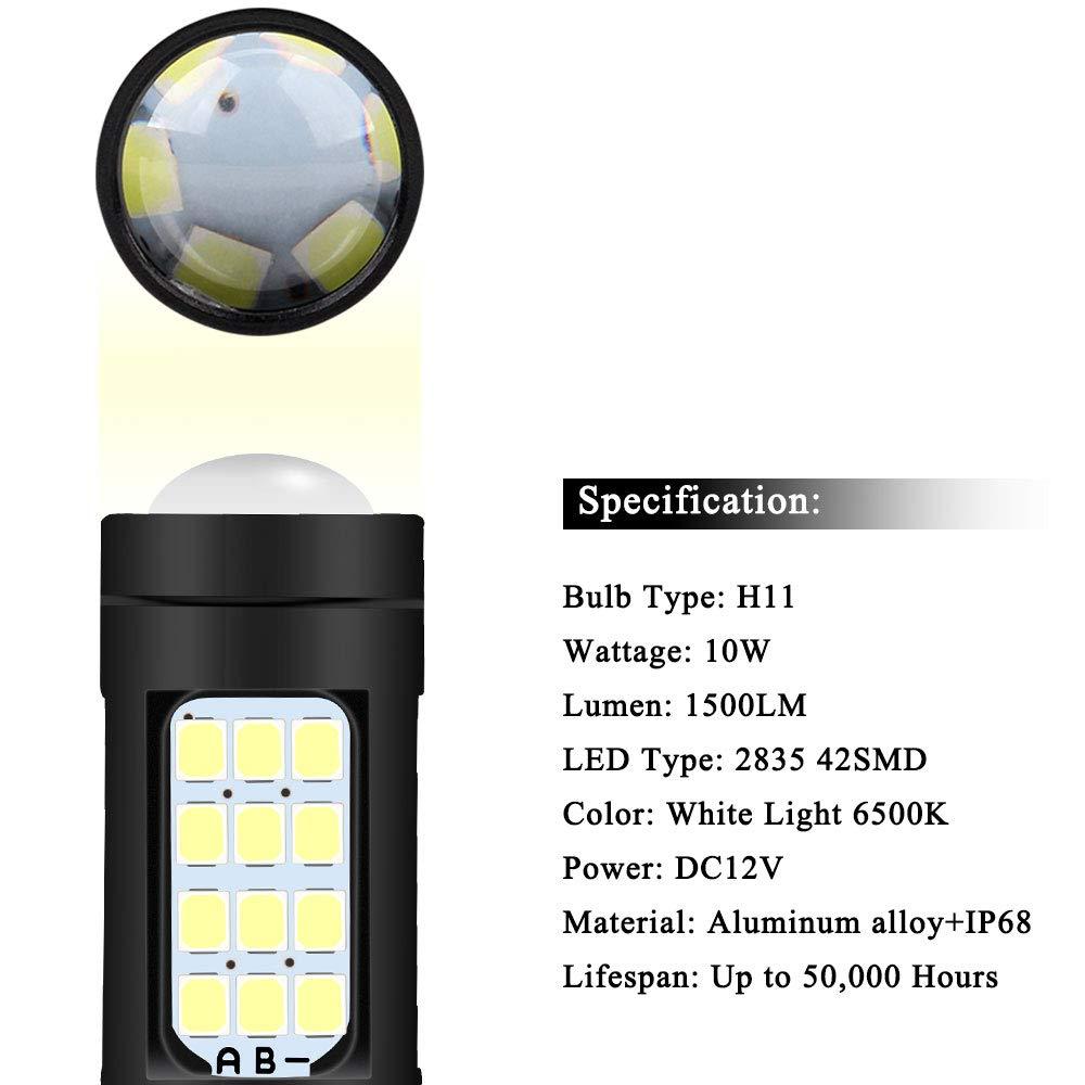 H4 LED Fog Light Bulbs Extremely Bright 2835 42 SMD Xenon White 6500K 1500 Lumens DRL Car Front Fog Lights Headlight bulb 12V-Pack of 2