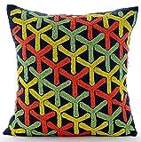 "Designer Multi Color Shams, Multicolor Lattice Trellis Pillow Shams, 24""x24"" Pillow Sham, Square Cotton Linen Shams, - Whirlwind Fun"