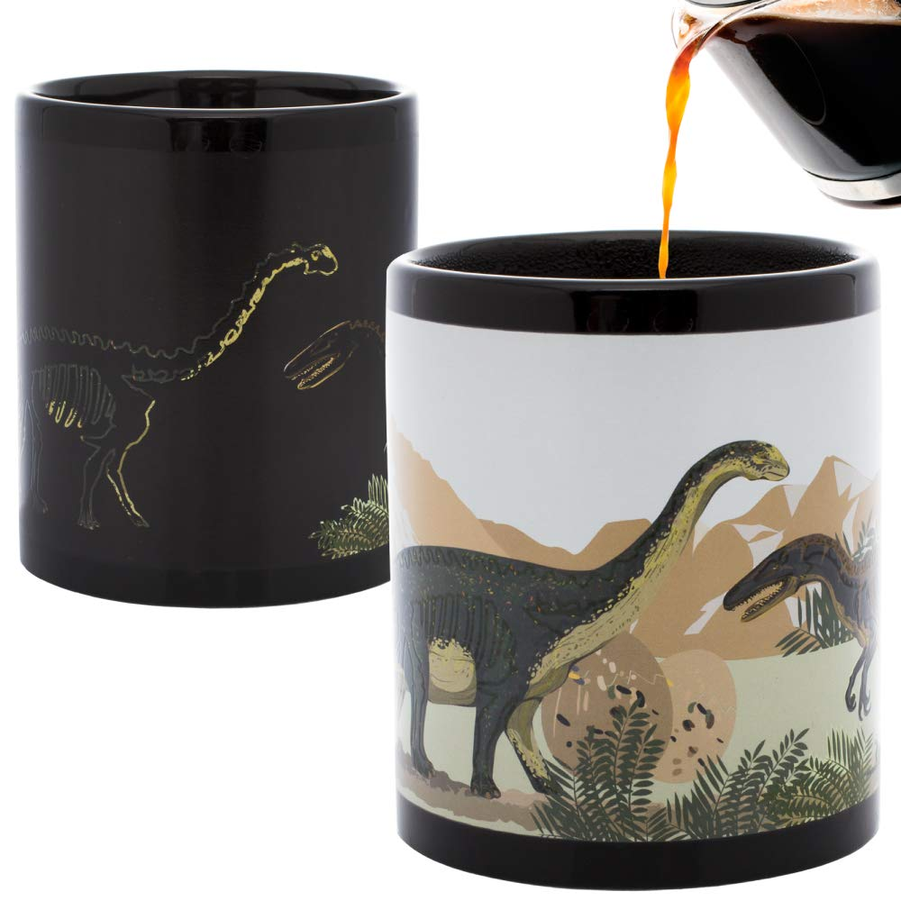 InGwest Home. Bones Dino Mug Changing Color Mug. Add Hot Liquid and Watch Dinosaurs Fossils Turn to Live Dinosaurs