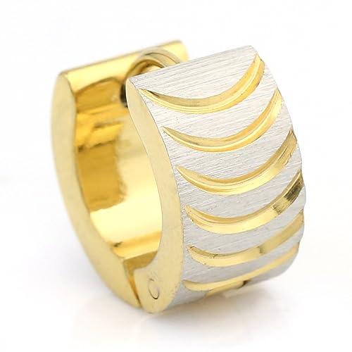 9c45d7fd488eb3 United Elegance - Stylish Two Tone (Silver & Gold) Huggie Earrings